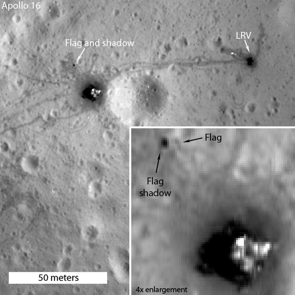 Le drapeau (flag) et son ombre (shadow) sur le site d'Apollo 16, la mission qui posa sur la Lune les astronautes John Young et Charles Duke au mois d'avril 1972. Les traces des va-et-vient de la jeep lunaire sont toujours visibles (LRV, pour Lunar Roving Vehicle). © Nasa, GSFC, Arizona State University