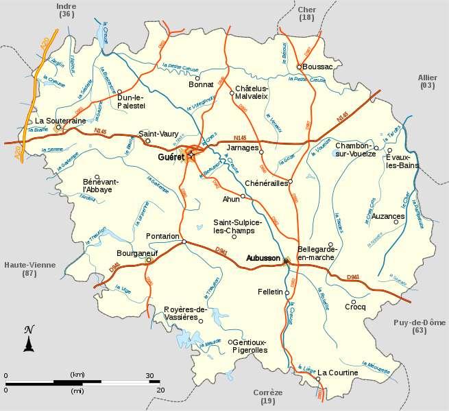 Carte détaillée de la Creuse. Le chef-lieu du département est Guéret. © LeMorvandiau, Wikipédia, GNU