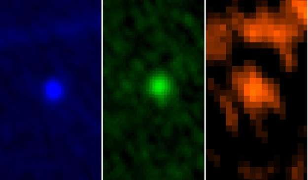 Trois vues de l'astéroïde Apophis par le télescope infrarouge Herschel dans trois longueurs d'onde, respectivement, de gauche à droite, 70, 100 et 160 micromètres. Les observations montrent que sa surface réfléchit 23 % de la lumière solaire, soit un albédo de 0,23, alors que cette valeur était jusque-là estimée à 0,33. Apophis est donc plus sombre que prévu. Cette valeur ainsi que la répartition des températures de surface (voir l'image au bas de l'article), ne sont pas anecdotiques : l'absorption plus ou moins grande du rayonnement solaire influe, petitement mais significativement, sur les variations d'orbite. © Esa, Herschel, PACS, Mach-11, MPE, B. Altieri (Esac) et C. Kiss (Konkoly Observatory)