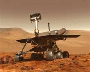 Un rover type MER (Opportunity ou Spirit, les 2 rovers sont jumeaux) crédit : NASA/JPL/Cornell