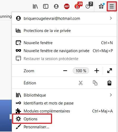 Allez dans les options de Firefox. © Google Inc.