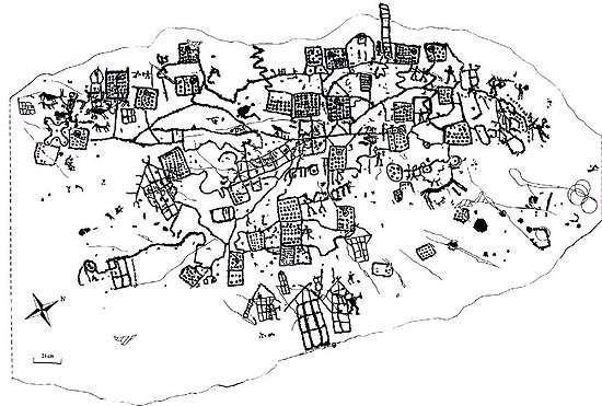 Représentation des figures de la carte de Bedolina. © Ruparch, Wikimedia Commons, CC by-sa 3.0