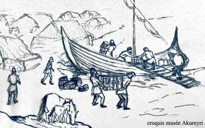 Débarquement viking. © Croquis du musée d'Akureyri