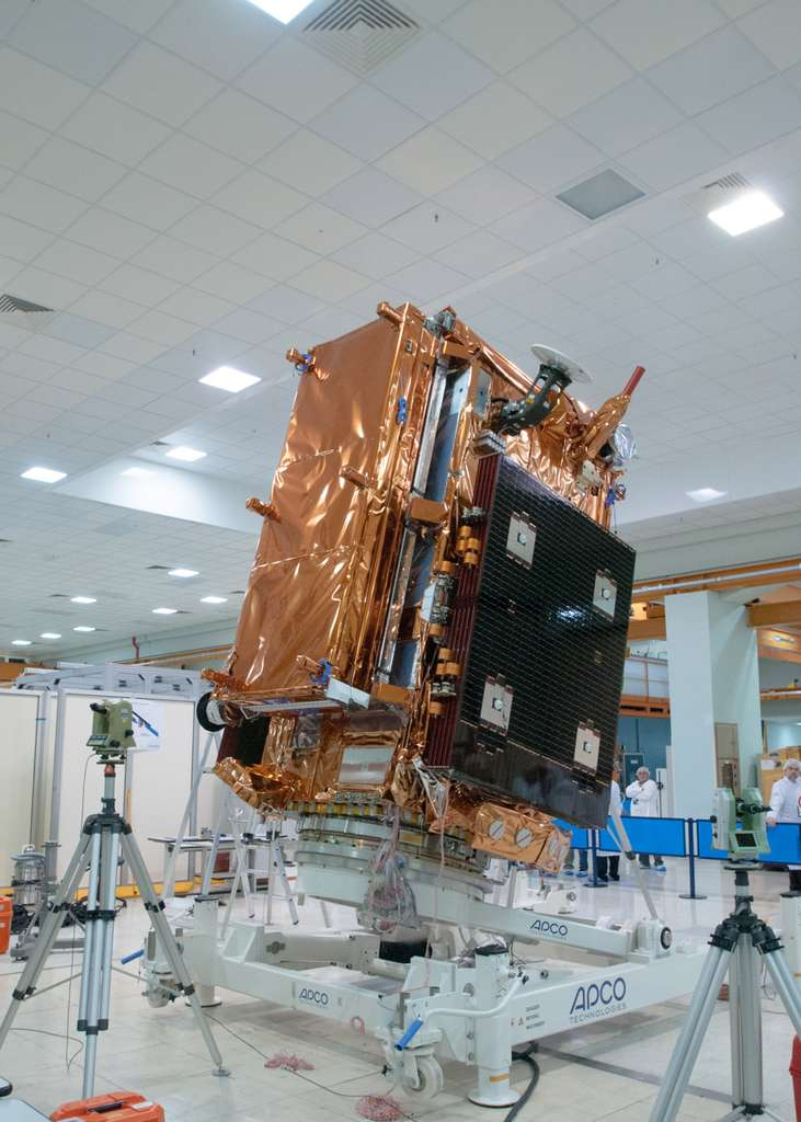 Sentinel 1A, le premier satellite de la composante spatiale de Copernicus, en avril 2014 par Arianespace. © Rémy Decourt