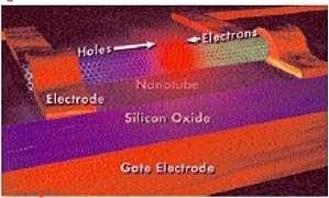 Sur ce schéma d'une réalisation de l'équipe, un nanotube de carbone fait office de porte électronique, à la manière d'un transistor.