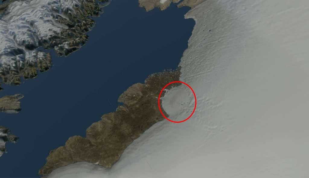 Une carte en image de synthèse montrant la localisation d'un possible cratère d'impact sous la glace du Groenland. © Natural History Museum of Denmark