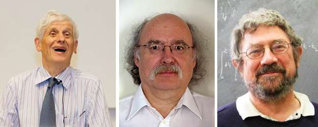 De gauche à droite, les prix Nobel de physique britanniques David Thouless, Duncan Haldane, Michael Kosterlitz. © University of Washington, Princeton University, Brown University