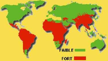 Carte de distribution du choléra dans le monde. La vaccination contre le choléra n'est plus disponible en France, compte tenu de sa faible efficacité. © DP