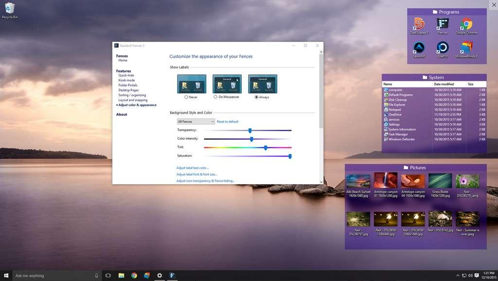 Fences simplifie la vie de ses utilisateurs en créant des zones spécifiques à chaque type d'icône sur le bureau. © Stardock