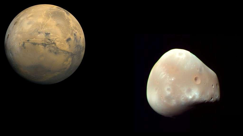 Mars et son satellite Déimos