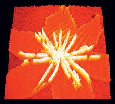Organisation supramoléculaire de la protéine LRAT adsorbée à l'interface air-eau sur une monocouche de DMPC ; représentation en 3D d'une image BAM. © Belin, livre Les Nanosciences, Tome 3, S. Bussières, B. Desbat, R. Breton et C. Salesse