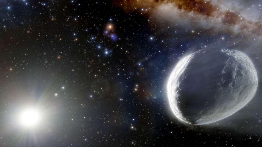 Une vue d'artiste de C/2014 UN271 ou comète Bernardinelli-Bernstein. Cette illustration montre la lointaine comète Bernardinelli-Bernstein telle qu'elle pourrait apparaître dans le Système solaire externe. On estime qu'elle est environ 1.000 fois plus massive qu'une comète typique, ce qui en fait sans doute la plus grande jamais observée. © NOIRLab, NSF, AURA, J. da Silva