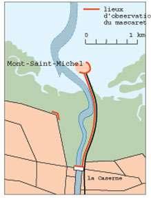 Figure 5 : les points de vue d'où les touristes peuvent observer le mascaret. En dehors des abords du Mont lui-même, le Grouin du Sud, sur le littoral du Cotentin, constitue aussi un excellent site d'observation du mascaret. © DR