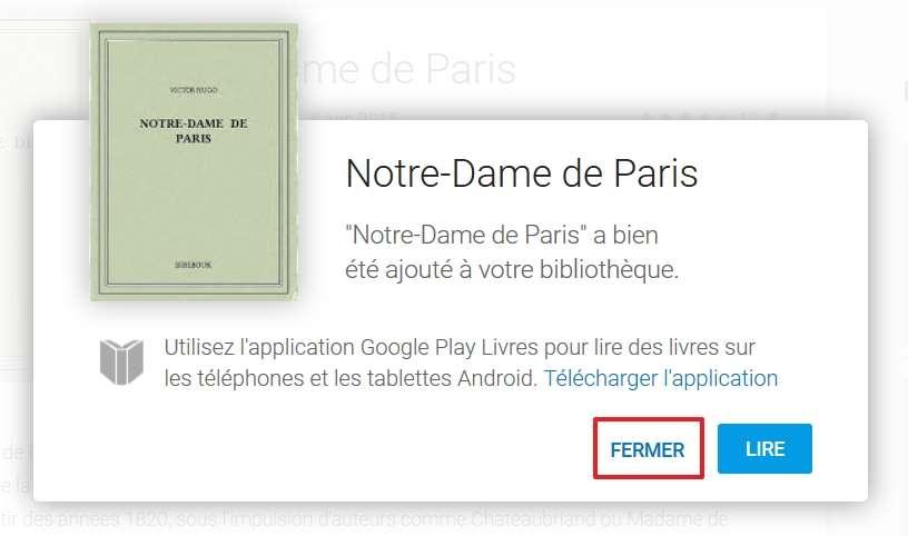 Cliquez sur « Fermer ». © Google Inc.