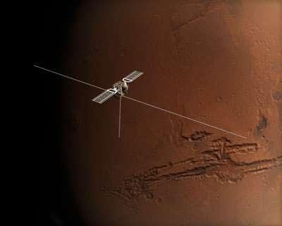 Le radar MARSIS de la sonde Mars Express entièrement déployé (crédit : ESA)