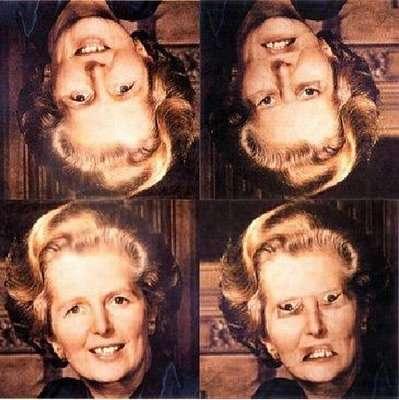 Le visage de Margaret Thatcher normal (à gauche) ou modifié (à droite). Si on les observe à l'envers (en haut), rien ne nous choque, mais vu dans le bon sens... © DR