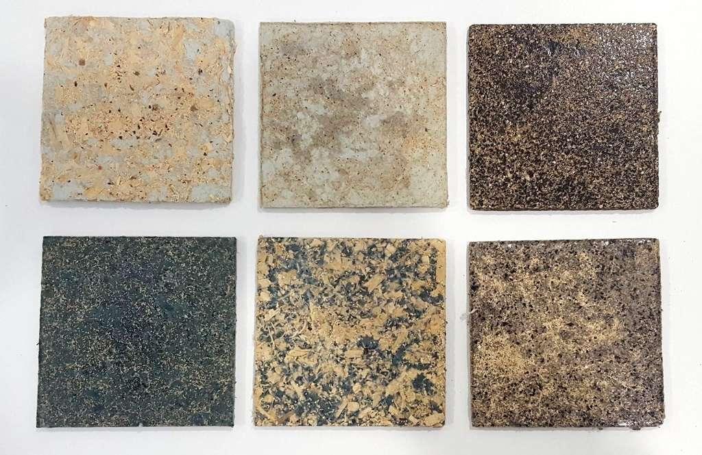 Selon leur composition, ces panneaux en tissu recyclé ont l'aspect de pierre ou de céramique. © Veena Sahajwalla
