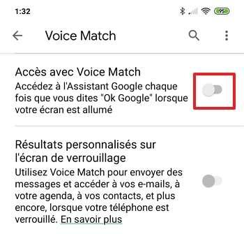Déplacez le curseur à gauche afin de stopper l'accès à Voice Match. © Google Inc.