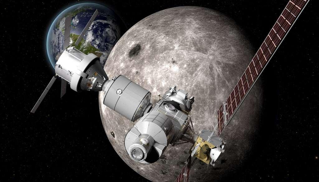 Concept proposé par Boeing d'un poste avancé à proximité de la Lune. © Nasa, Boeing