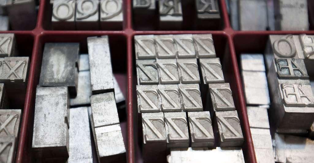 Caractères mobiles d'imprimerie en plomb. © Stux - Domaine public