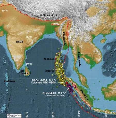 Figure 7 : Localisation des épicentres des événements sismiques majeurs des séismes de Sumatra (2004 et 2005) ainsi que des petits séismes qui s'en suivirent, les répliques.