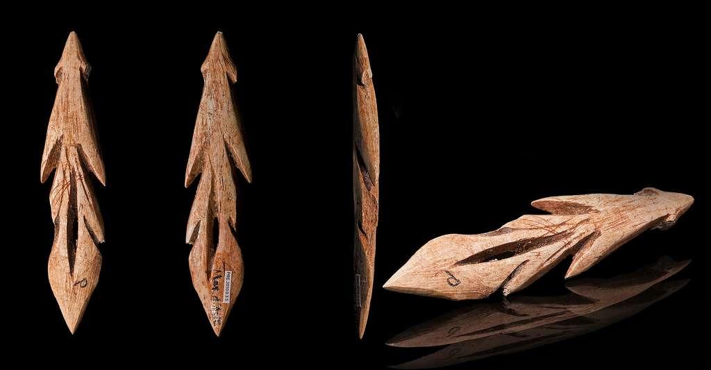 Zoom sur la pêche et la pisciculture. Ici, harpon de l'Azilien trouvé dans la grotte du Mas-d'Azil (Muséum de Toulouse). © Didier Descouens, CC by-sa 4.0