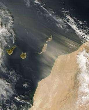 Cliquez pour agrandir. Une tempête de sable issue du Sahara transporte avec elle de la poussière vers les îles Canaries. Crédit : Nasa