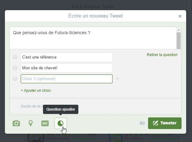 La préparation d'un sondage se fait exactement comme un tweet. © Futura-Sciences
