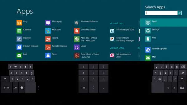 Pour les ordinateurs et tablettes à écran tactile, Windows 8 proposera un clavier virtuel en 3 parties. © Microsoft