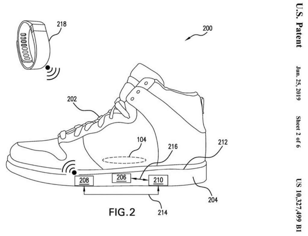 Un bracelet permettra de recevoir les données et d'ajuster la largeur de la chaussure pour libérer le pied. © USPTO