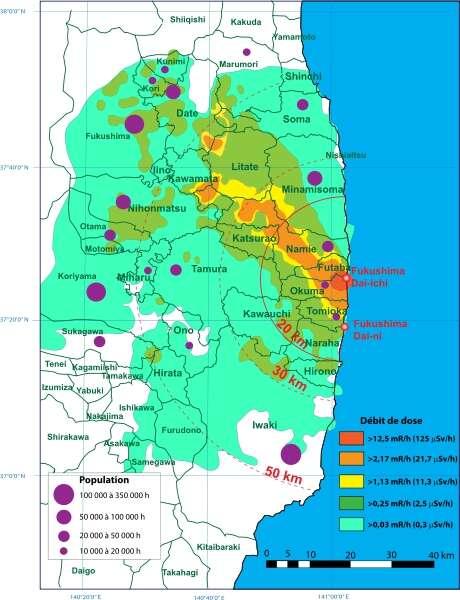 Cette carte représente les débits de doses radioactives sur zone entre le 30 mars et le 3 avril 2011, soit quelques semaines après la catastrophe nucléaire de Fukushima. Les couleurs les plus chaudes signalent les radiations les plus intenses. Jusqu'à 50 kilomètres du lieu du drame, on trouve des régions encore très radioactives. © Roulex_45, Wikipédia, cc by sa 3.0