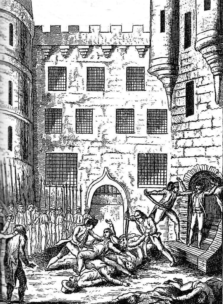 Massacre des prisonniers de la prison du Châtelet et de la maison de Bicêtre, septembre 1792. Gallica-Bibliothèque nationale de France, Wikimedia Commons, domaine public