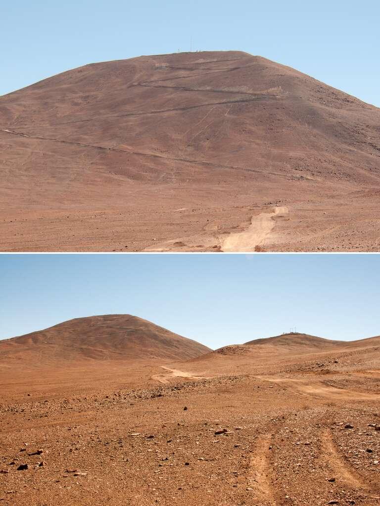 Au pied du Cerro Armazones, au sommet duquel sera construit le futur télescope géant de 39 m de diamètre de l'Eso. Ces deux photos ont été prises en décembre 2013. Depuis, les travaux d'arasement du sommet ont débuté en juin 2014. © Rémy Decourt