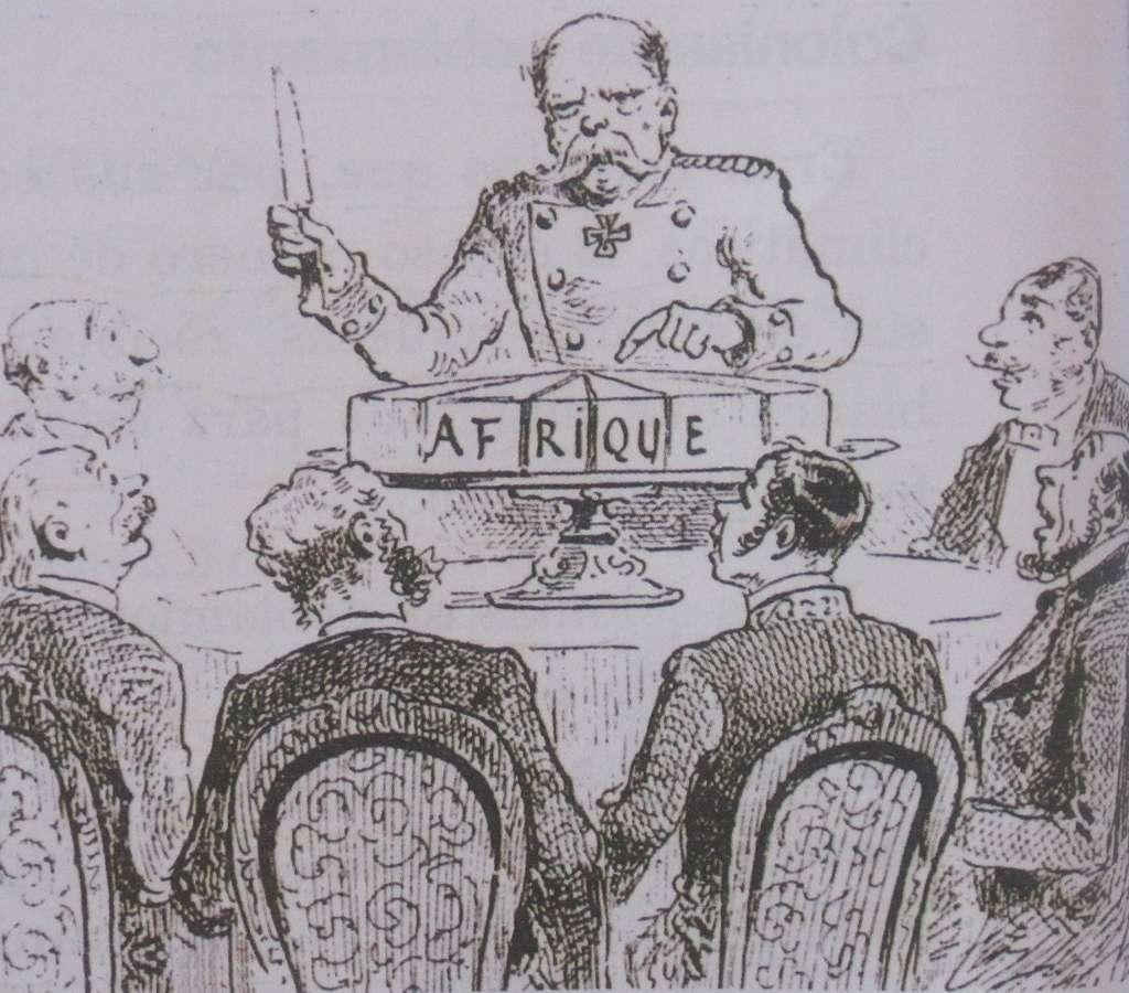 """Caricature de la Conférence de Berlin de 1885 : le chancelier Bismarck découpe le """"gâteau africain"""" entre les différents pays européens ; sous-titre """"à chacun sa part si l'on est bien sage"""". Journal L'Illustration, 1885. © Wikimedia Commons, domaine public."""