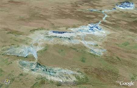 Vue satellite de lacs salés dans le désert de l'Ordos. © Google Earth