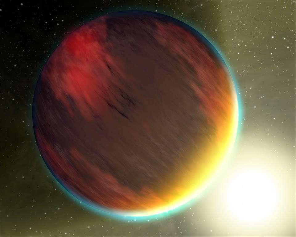 Illustration de HD 209458b, surnommée Osiris, la première exoplanète découverte par transit et une des toutes premières observées directement par spectroscopie. Hubble et Spitzer ont révélé la présence dans son atmosphère de gaz carbonique, de méthane et de vapeur d'eau. Elle gravite en 3,5 jours seulement autour de son étoile. © Nasa, JPL-Caltech, T. Pyle (SSC)