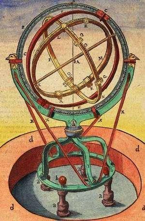 Sphère armillaire à l'Observatoire d'Uraniborg, Astronomiae instauratae mechanica, 1598