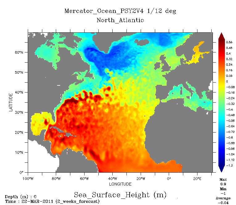 Hauteurs de la surface de la mer dans l'Atlantique nord : prévision faite le 9 mars 2011 pour Le 22 mars 2011. Entre l' « anticyclone » océanique centré sur les Bermudes et la « dépression » océanique au sud du Groenland la dénivellation est de 1,8 mètre. © Mercator-Océan