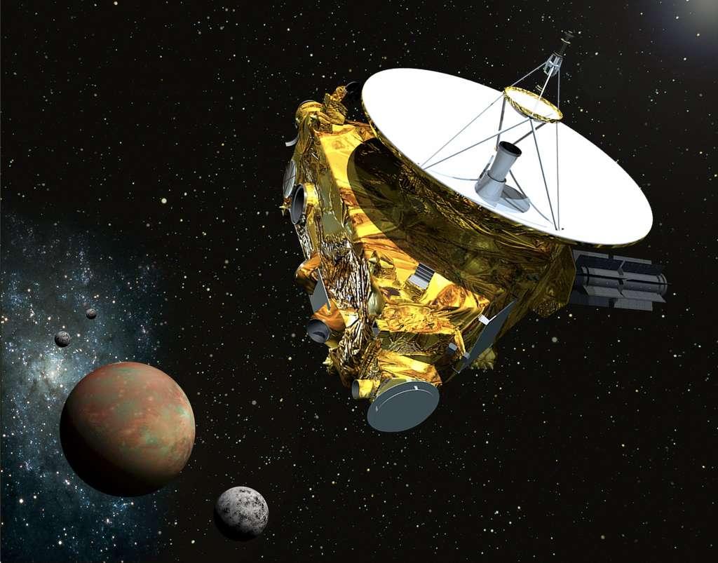 La sonde New Horizons, en vue d'artiste, au passage près de Pluton et de Cahron. La scène devrait devenir réalité le 14 juillet 2015. © JPL/Nasa