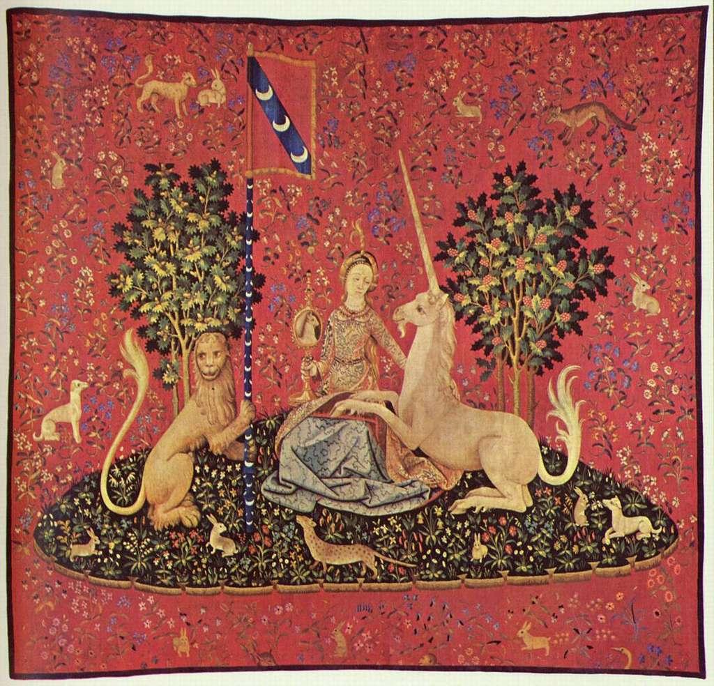 La Dame à la licorne. La vue. Laine et soie. © Musée de Cluny, DP