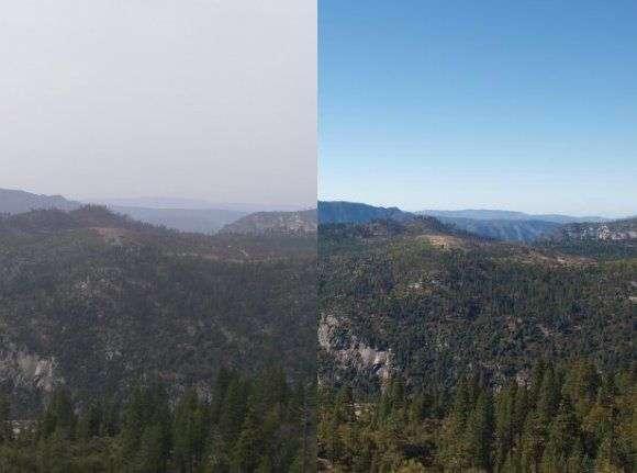 La clarté du ciel peut être altérée par les particules en suspension dans l'atmosphère, les aérosols. Par temps clair, de grosses particules, de l'ordre du micromètre, réfléchissent très efficacement les rayons solaires incidents, réduisant ainsi la visibilité. © U.S. National Park Service