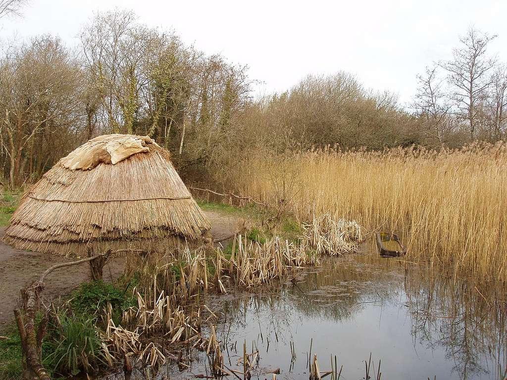 Reconstitution d'une hutte de chasseurs-cueilleurs mésolithiques. © David Hawgood, Wikimedia commons, CC 2.0