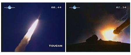 Ariane 5 s'élance dans le ciel de Kourou, séparation des accélérateurs. Capture Videocorner Arianespace