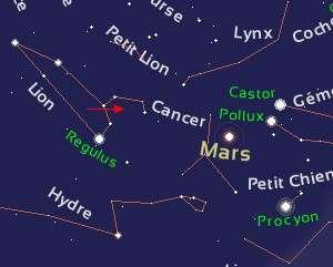 La flèche rouge représente le déplacement de Vesta dans la constellation du Lion pendant le mois de février.
