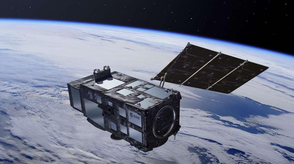 Représentation de Sentinel-3A en orbite. © ESA, Pierre Carril