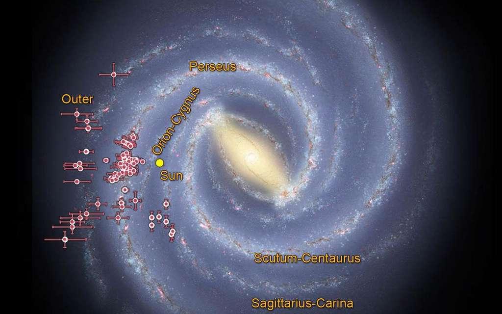 Une carte montrant certains des amas ouverts de type EC découverts dans les données du télescope Wise de la Nasa. Les barres indiquent des incertitudes concernant ces amas. © Nasa