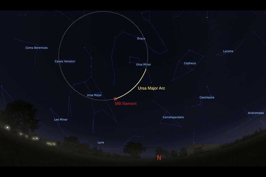 Une visualisation de l'arc observé dans la grande ourse (en jaune), et la fraction originellement observée (en rouge). © Stellarium.org, A. Bracco, R. Benjamin