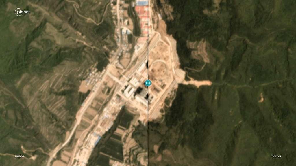 Les photos de la centrale de Shangluo, dans la province de Shaanxi, montrent que les tours de refroidissement ont bien été achevées. Image extraite d'une animation sur le site PlaneteLab. © Ted Nace, PlanetLab