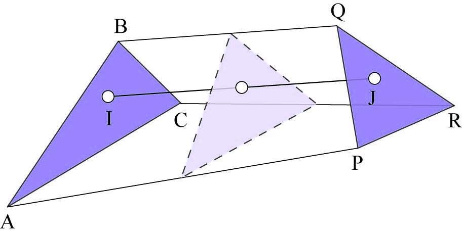 Passage d'un triangle à l'autre, de gauche à droite. À partir de points identiquement situés, comme A et C, dans chaque triangle, on place un point intermédiaire B, milieu de AC. On peut recommencer avec les milieux de AB et BC, etc. et ainsi obtenir un grand nombre d'intermédiaires. © Hervé Lehning, DR