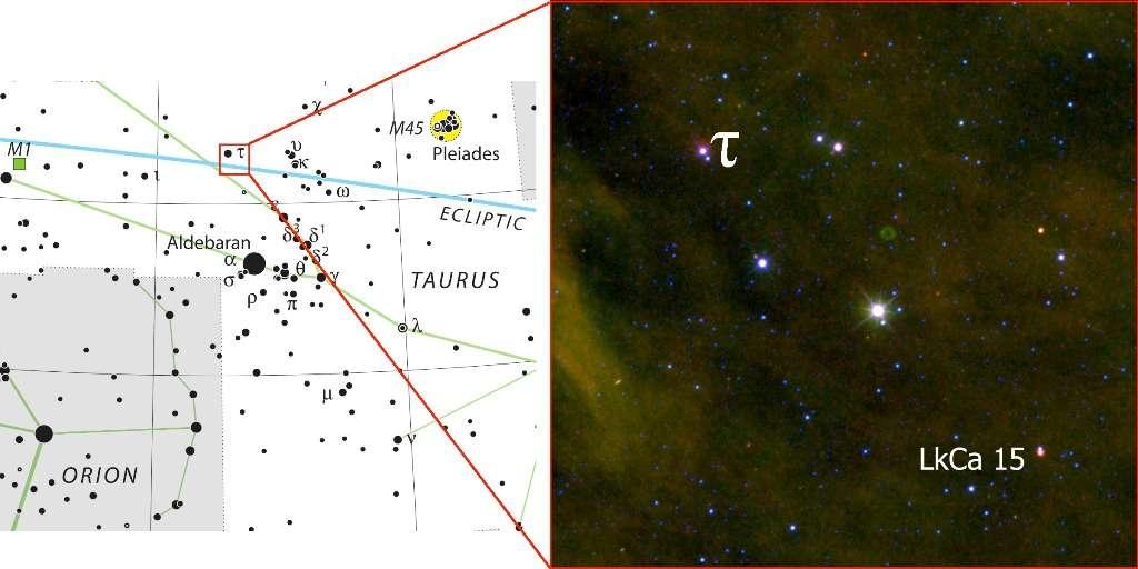 La position de l'étoile LkCa 15 sur la voûte céleste. © Kraus/IAU/Sky & Telescope